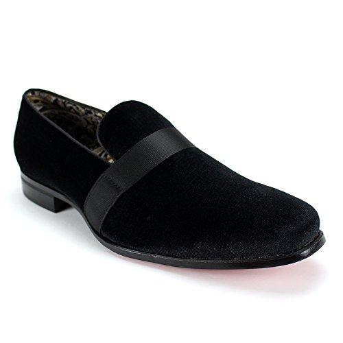 (AFTER MIDNIGHT 6660 Velvet Smoker Strap Smoking Slipper Loafer Slip on High Fashion Dress Shoe (8,)