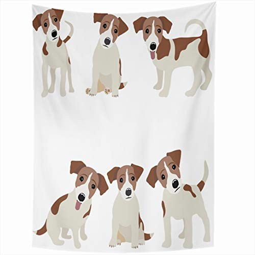 - Ahawoso Tapestry 60 x 80 Inches Pet Russel Jack Russell Terrier Dog Cute Funny Avatar Puppy Design Wall Hanging Home Decor Tapestries for Living Room Bedroom Dorm