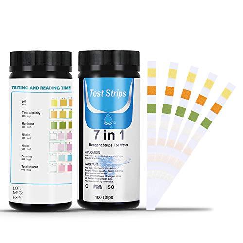 🥇 Dustgo Tiras de Prueba de Piscina- Medidor ph 7 en 1 con 100 PCS para Pruebas cualitativas y Semi-cualitativas de la Calidad del Agua