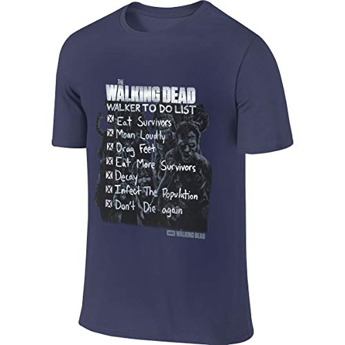 SHENGN Men Personalized Comfortable Tees The Walking Dead Walker to Do List T Shirt Navy