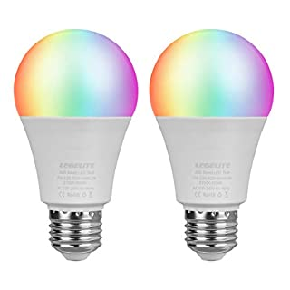LED WiFi Smart Light Bulb, E26 WiFi Light Bulb Compatible with Alexa Google Home and IFTTT, RGBCW Color Changing, Cool White and Warm White Dimmable, No Hub Required, A19 60W Equivalent (2 Pack)