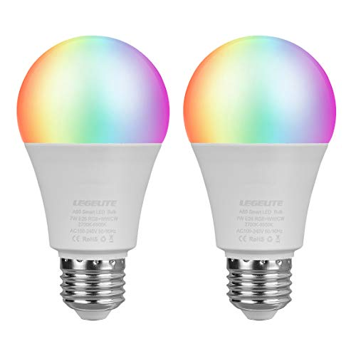 LED WiFi Smart Light Bulbs, E26 WiFi Light Bulb Works with Amazon Alexa Google Home and IFTTT, RGBCW Color Changing, Cool White and Warm White Dimmable, No Hub Required, A19 60W Equivalent (2 Pack) ()