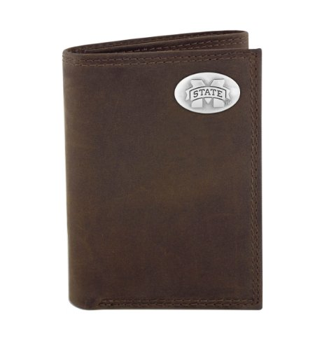 Mississippi State Bulldogs Wallet - NCAA Mississippi State Bulldogs Zep-Pro  Crazyhorse Leather Trifold Concho Wallet, Light Brown