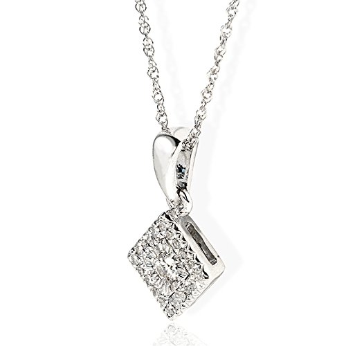 Diamant rond Cluster Pendentif 1/10carats (ctw) en or blanc 10K