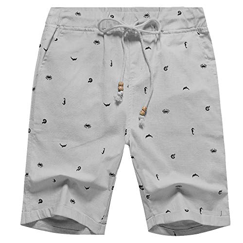 - Men's Linen Casual Classic Fit Short (Gray Crab, S)