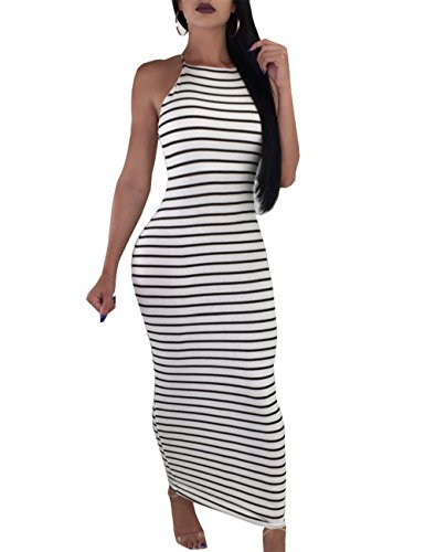 Haola Womens Sexy Club Dress Stripe Backless Sleeveless Bodycon Party Casual Long Dresses
