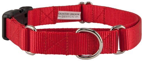 Country Brook Design Heavyduty Nylon Martingale with Deluxe Buckle - Red - M