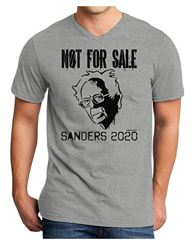 TOOLOUD Bernie Sanders 2020 Not for Sale Adult V-Neck T-Shirt - HeatherGray - 2XL