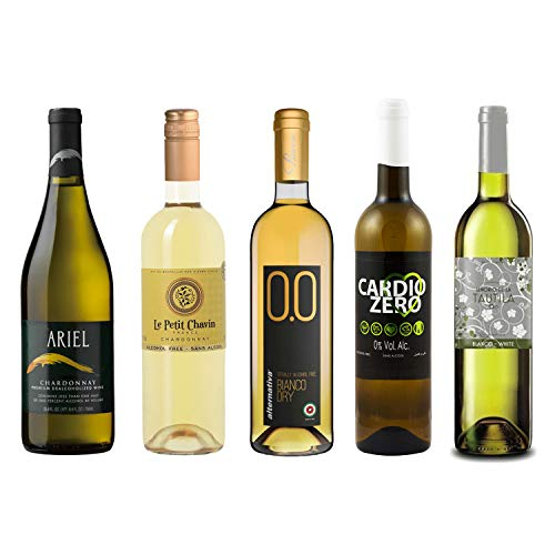 White Wine Sampler - Five (5) Non-Alcoholic Wines 750ml Each - Featuring Ariel Chardonnay, Le Petit Chardonnay, Cardio Zero White, Bianco Dry, and Tautila Blanco
