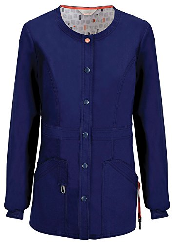 Code Happy Women's Snap Front Warm-up Jacket_Navy_Large,46300A (Nursing Uniform Jacket)