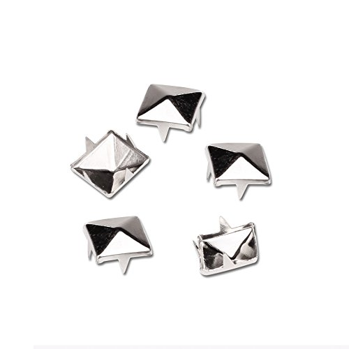 Mini-Factory 100 PCS Nailhead DIY Metal Silver Punk Spikes Spots Pyramid Studs For Leathercraft(Size:10MM, Color:Silver, QTY:100 Pieces) ()