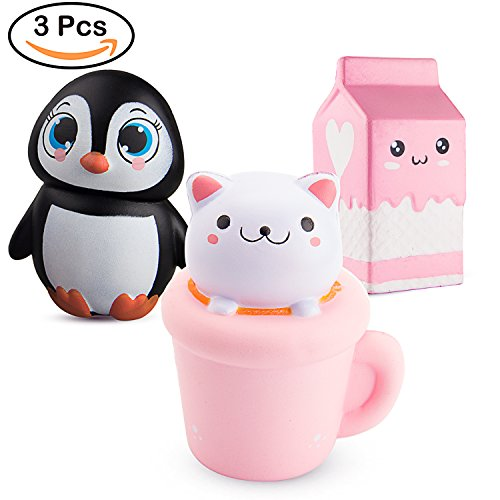 BeYumi 3 PCS Jumbo Squishy Toy, Kawaii Penguin + Cat Toy + Milk Cup Decompression Squeeze Toys for Collection Gift, decorative props Large or Stress Relief, 3 (Jumbo Cat)