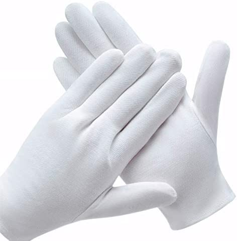 6 Pairs White Cotton Gloves for Dry Hands, SPA Gloves Inspection Gloves