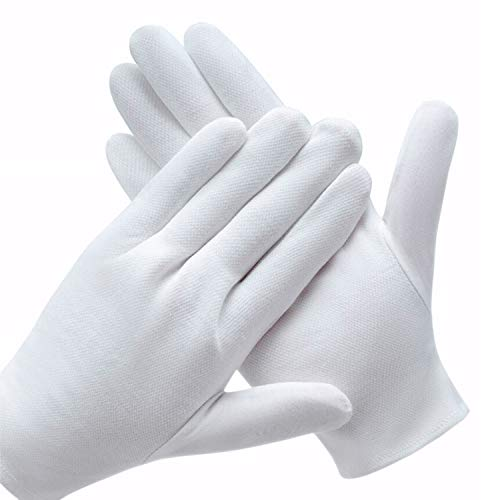 12 Pairs White Cotton Gloves for Dry Hands, SPA Gloves Inspection Gloves