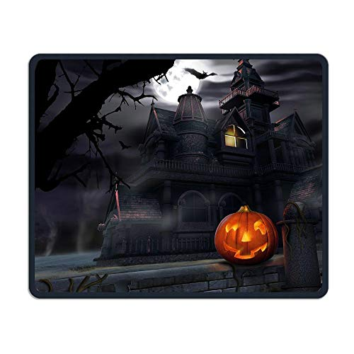 Mouse Pad Halloween Pumpkin Castle Rectangle Rubber Mousepad Length 8.66 Width 7.09 inch Gaming Mouse Pad with Black Lock Edge]()