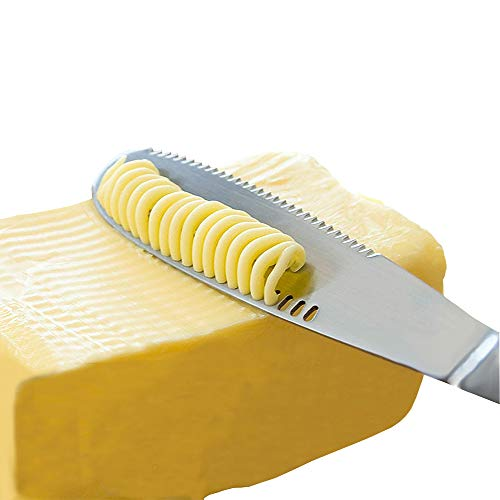 (Stainless Steel Butter Spreader Knife - 3 in 1 Kitchen Gadgets, Curler, Slicer, Shave And Butter Grater! The Butter Knife Magic Slicer Is A Perfect Butter Slicer For Your Bread)