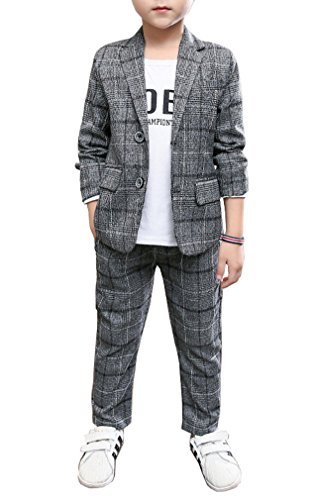 Boys Spring Summer Gray Plaid Suit Set Jacket and Pants 2 Pieces Set 4T - 12 (Gray, 10)