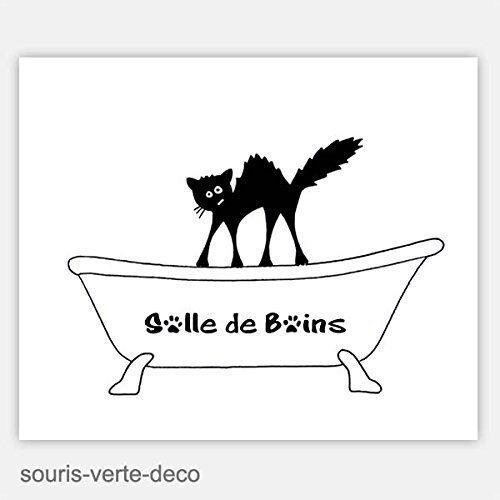 plaque de porte de salle de bains humoristique chat déco salle de