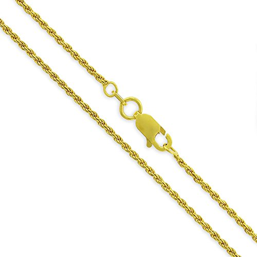 Yellow Gold Fine Rope - Sterling Silver Italian 1.5mm Rope Diamond-Cut Link Solid 925 Yellow Gold Plated Twisted Chain Necklace 16