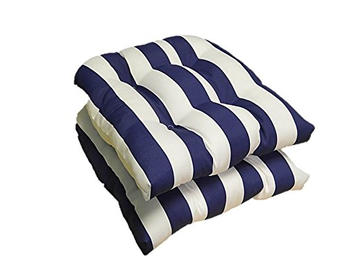 Amazon.com: Set Of 2   Universal Tufted U Shape Cushions For Wicker Chair  Seat   Navy Blue And White Stripe   Indoor / Outdoor: Home U0026 Kitchen