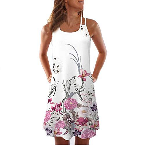 Women's Spaghetti Strap Dress Criss Cross Backless Sleeveless Floral Print Casual Beach Mini Dresses Sundress White