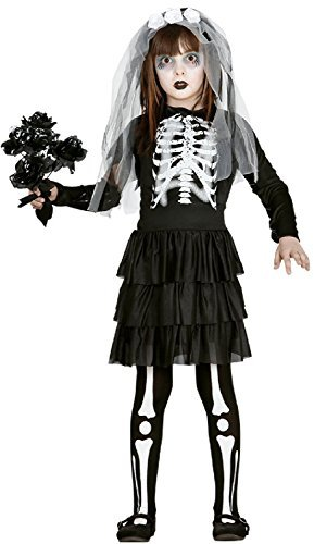 Girls Skeleton Corpse Bride Halloween Horror Scary Fancy Dress Costume Outfit 5-12yrs (10-12 Years)
