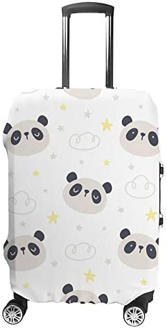 スーツケースカバー パンダと星 伸縮素材 キャリーバッグ お荷物カバ 保護 傷や汚れから守る ジッパー 水洗える 旅行 出張 S/M/L/XLサイズ