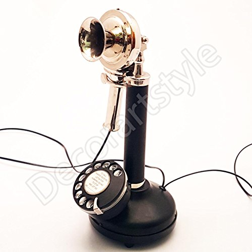 Decorative Royal Antique Reproduction Candle stick Nickel Plated Working Telephone Home Decor ()