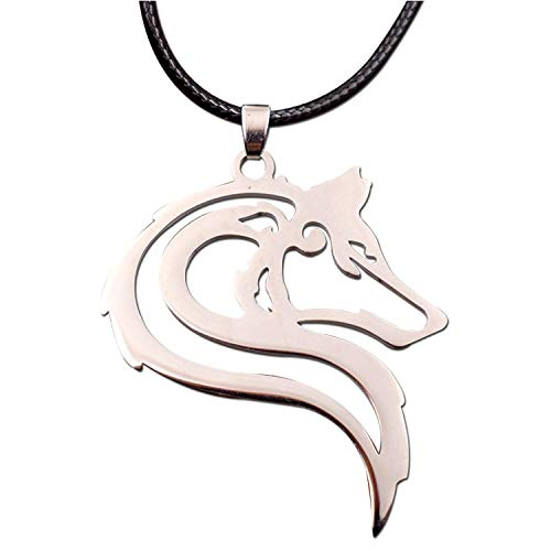HAQUIL Wolf Jewelry Stainless Steel Tribal Wolf Necklace for Men for Women for Teens ()