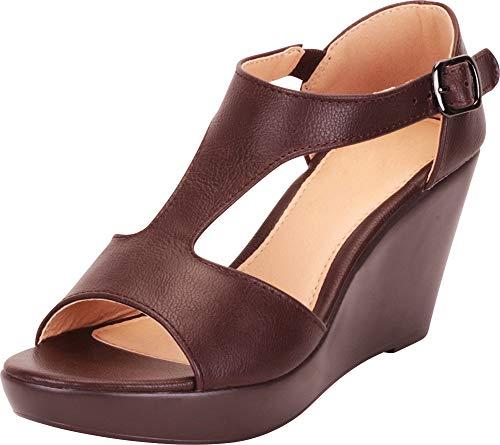 Cambridge Select Women's Open Toe T-Strap Chunky Platform Wedge Sandal,8.5 B(M) US,Chocolate - Juniors Chocolate Sandals