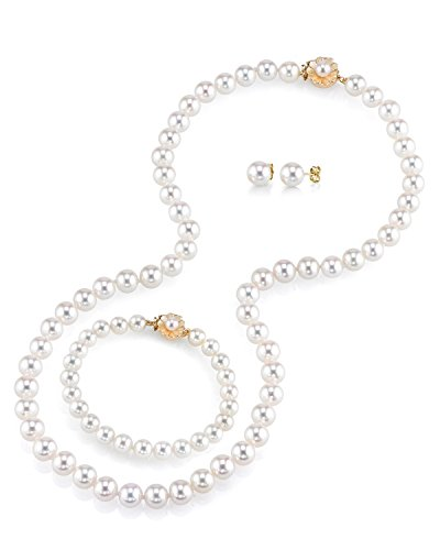 THE PEARL SOURCE AAA Quality 7-8mm Round White Freshwater Cultured Pearl Necklace, Bracelet & Earrings Set with 14K Yellow Gold Flower Clasp for Women by The Pearl Source