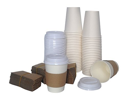 Corv's Cups Disposable Coffee Cups with Lids and Sleeves, 12-Ounce (Pack of 50)