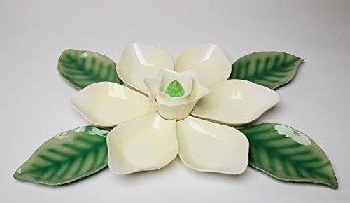 Fine Elegant Porcelain White Magnolia Flower Petals and Leaves Serving Dish Bowl Serving Set of 11 (11 pcs Set), 21-1/2