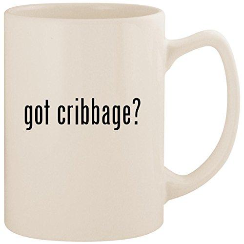- got cribbage? - White 14oz Ceramic Statesman Coffee Mug Cup