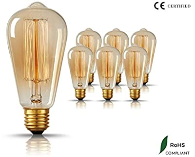 Original Vintage Thomas Edison Incandescent Light Bulbs - 6 Pack - Tungsten Filament, Amber Clear Glass, 60 Watts, 120 Volts, E26 / E27 Medium Base