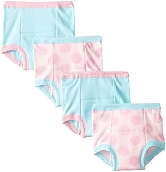 Gerber Toddler Girls' 4 Pack Training Pants, Blue/Pink Dots, 2T