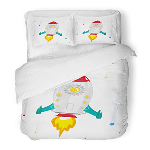 (Emvency Bedding Duvet Cover Set Full/Queen (1 Duvet Cover + 2 Pillowcase) Kids High Speed Voyage of Rocket Ship with Gear Window Clip Asteroid Astronaut Belt Hotel Quality Wrinkle and Stain Resistant)