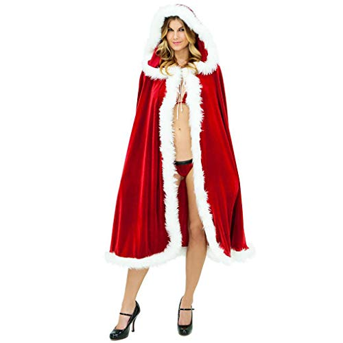 Women's Christmas Halloween Costumes Cloak Mrs. Santa Claus Cardigan Red Velvet Hooded Cape Xmas Party Costume Robe Wrap, 120cm/47.2