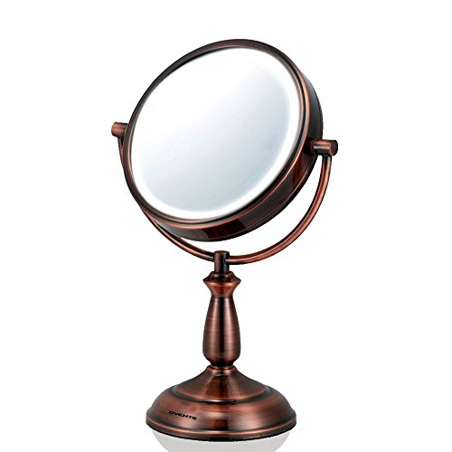 Ovente LED 8x Magnifying Makeup Mirror – 6.0″ Lighted Travel Vanity Mirror – Cordless, Battery Operated, Locking Suction, Portable, Illuminated Review