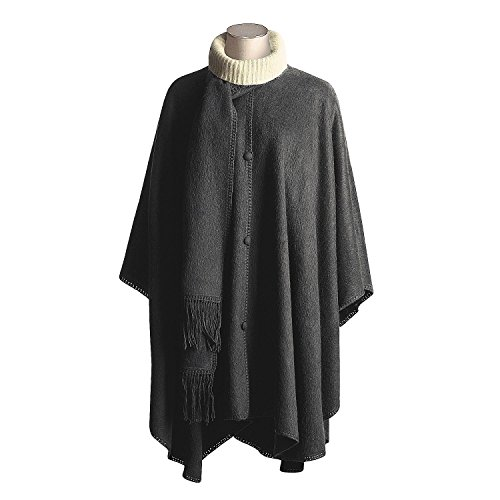 "#1427 Woven Long Cape Very Soft Alpaca Accessory Black Solid Button Down Peru from ""Handmade"""