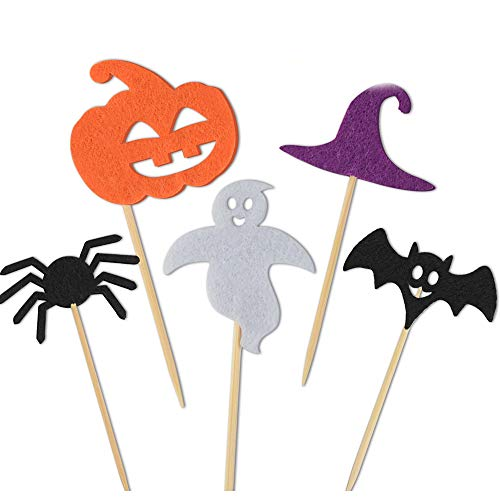 Kuuqa 100 Pcs Halloween Party Cupcake Toppers Picks Decorations Halloween Mini Pumpkin Spider Ghost Hat Bats for Cupcake Dish Decoration -