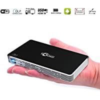 Mini Projector, C800S DLP Support 1080P Pocket LED Office Home Pico Wireless Android System High Lumens Dual Wifi HDMI Keystone Correction, Portable Video Projector