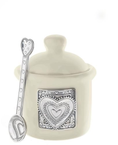 Condiment Jar with Spoon - Heart - By Ganz