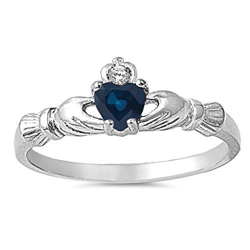 sapphire claddagh ring - 1