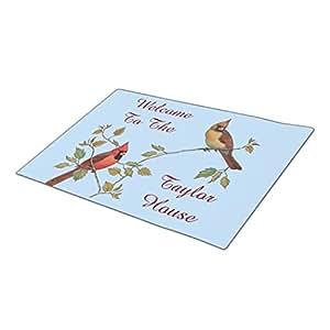 Monogrammed Door Mat Cardinal Couple Dog Doormat