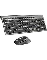 Wireless Keyboard and Mouse Combo, Compact Wireless Keyboard with Numeric Keypad and Ergonomic Full-size 2400 DPI Mouse for PC, Mac,iMac,Desktop, Computer, Laptop, Windows XP/Vista/7/8/10 by J JOYACCESS-Black and grey