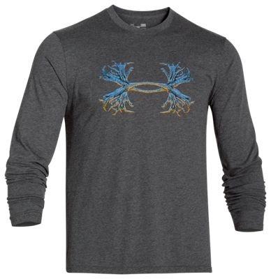 Under Armour 6391265920 UA 3D Antler T-Shirt for Men, Carbon Heather & Blaze Orange - Small
