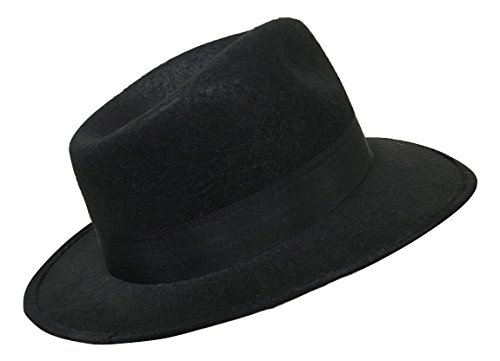 [Adult Gangster Hat Al Capone Black Fedora Blues Brother Costume Accessory] (Blues Brothers Costume Hat)