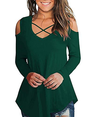 AolakekeCold Shoulder Short/Long Sleeve T Shirts V Neck Tops Casual Criss Cross Tunic Blouse ()