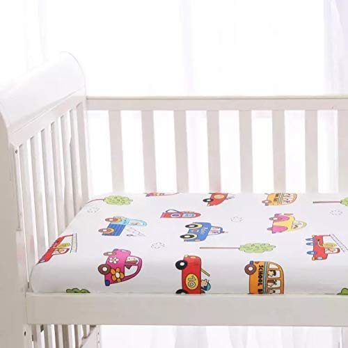 "KFZ 1 Piece100% Organic Cotton Car Printed Mini Crib Fitted Sheet, 24""x47"" Size Ultra Soft Breathable Toddler Nursery Bedding for Boys and Girls, Suitable for Babies Mattress (Car, White, 24""x47"")"